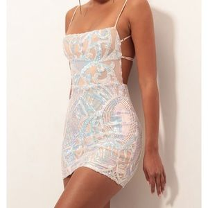 lucy in the sky Starstruck Strappy Dress in Nude Iridescence brand new size m.